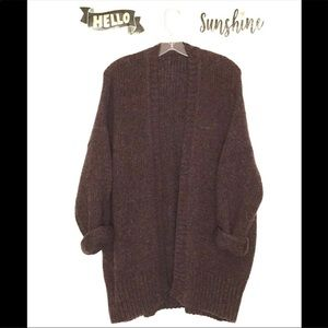 Oversized Wool Grandpa Sweater Cardigan by DKNY